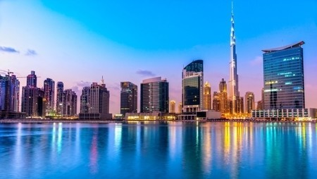 dubai skyline at dusk, UAE