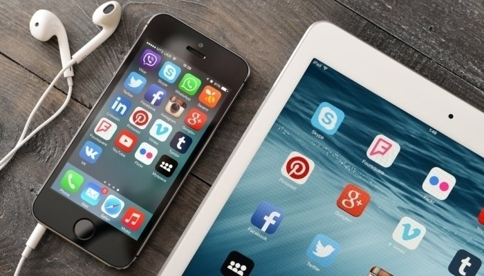 social media apps on smartphone and tablet