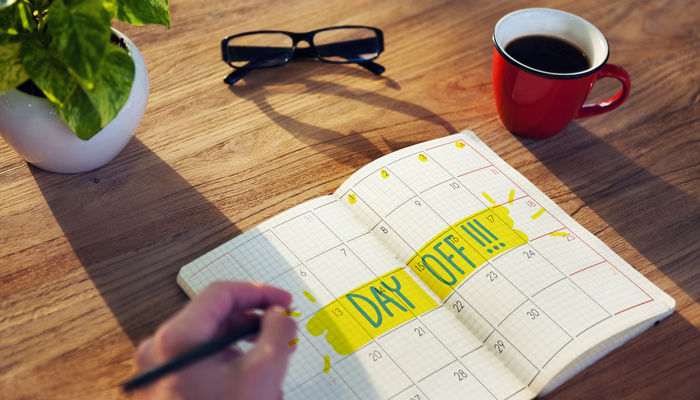 Day off written in diary