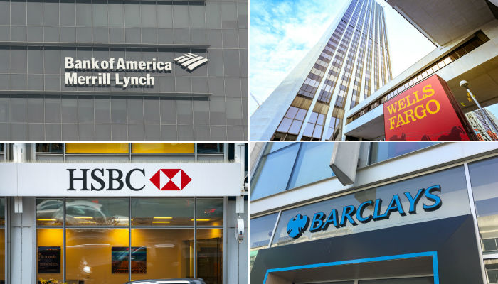Logos of Bank of America Merrill Lynch, HSBC, Barclays and Wells Fargo
