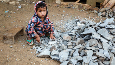 Child mining cobalt in Myanmar