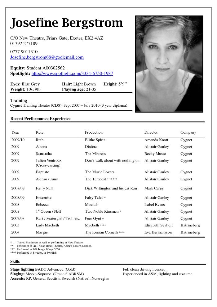 Actor CV example