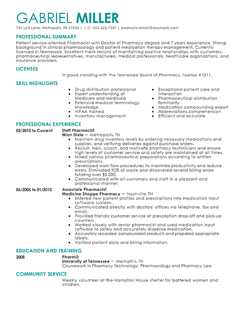 Pharmacist CV example
