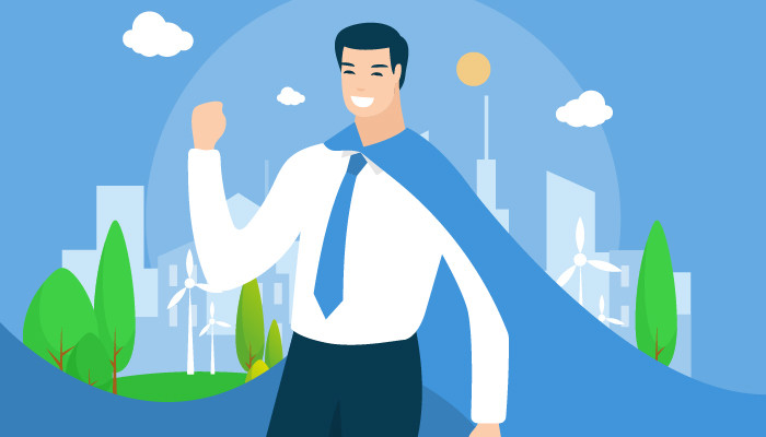 illustration of a cheering businessman wearing a blue cape