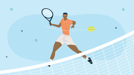 Illustration of a male tennis player against a blue background