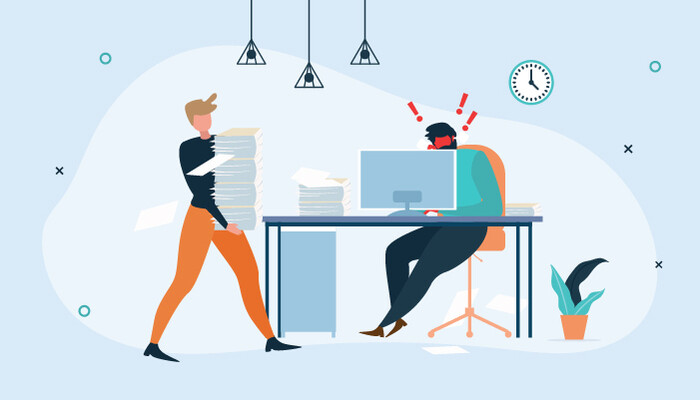 Illustration of a woman carrying a pile of paper and an angry man sitting at his desk