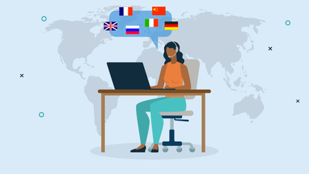 Illustration of a woman wearing a headset and working on a laptop with a speech bubble containing various country flags