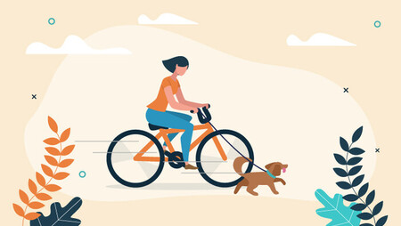 Illustration of a woman riding a bike and walking her dog