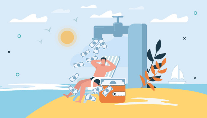 Illustration of a man sunbathing on the beach and a large tap pouring money over him