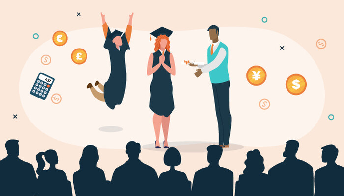 Illustration of graduates receiving their diplomas surrounded by various financial icons and currency signs