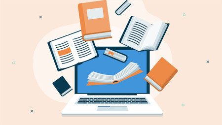 Illustration of books and a laptop