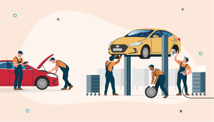 Illustration of a group of men working on two cars in a garage