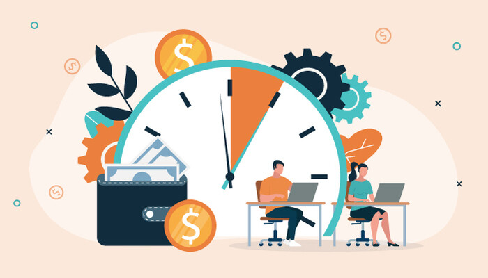 Illustration of two workers sitting at desks in front of a large clock and surrounded by dollar icons