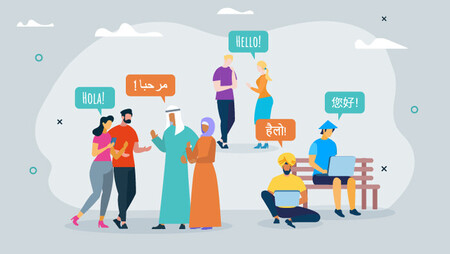 Illustration of various people from different countries speaking different languages