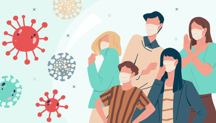 Illustration People Face Masks Virus Pandemic
