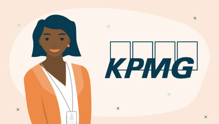 Illustration of a woman next to the KPMG logo