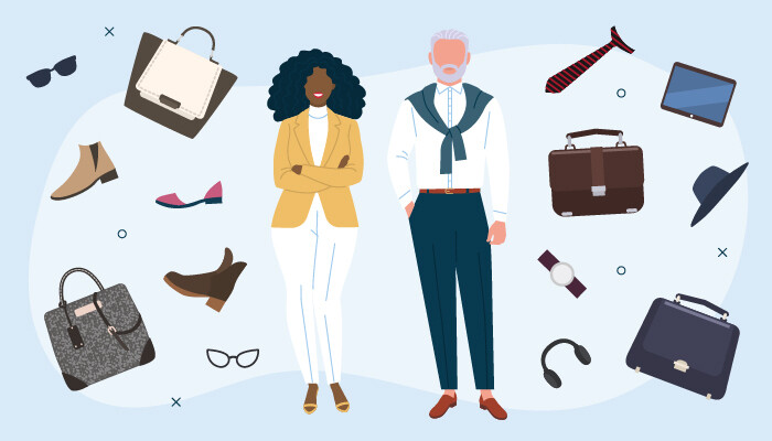 Illustration of a man and a woman surrounded by work accessories
