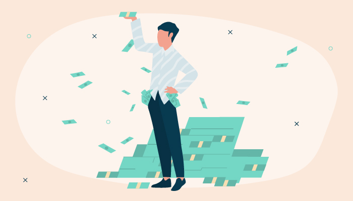 Illustration of man standing in front of a money pile