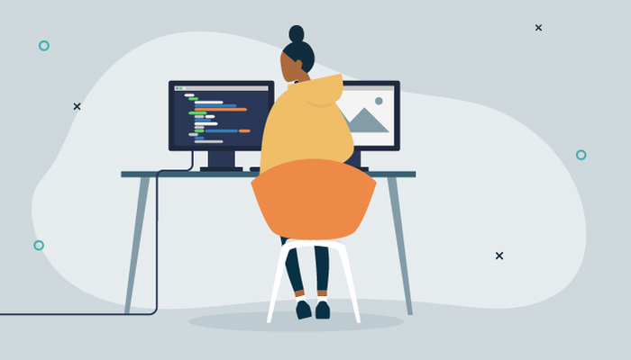 Illustration of woman at her desk working in front of two computer screens