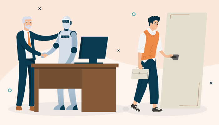 Illustration of a young man leaving an office while an older man shakes the hand of a robot