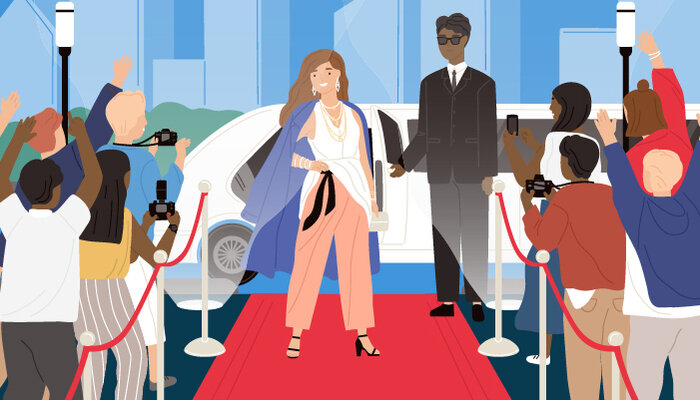 Illustration of a celebrity next to a bodyguard standing in the middle of a crowd of paparazzi on the rep carpet