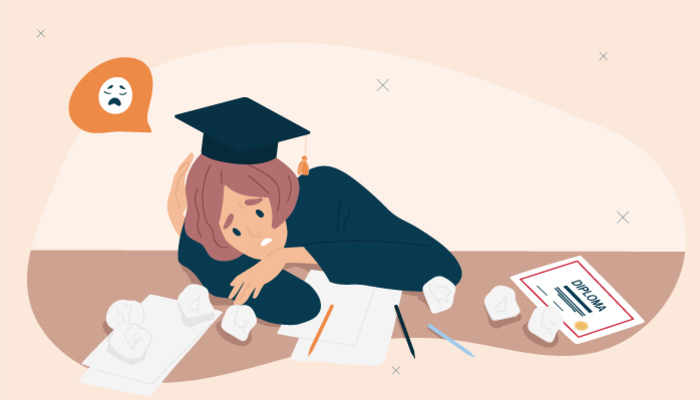 Illustration of a sad female graduate