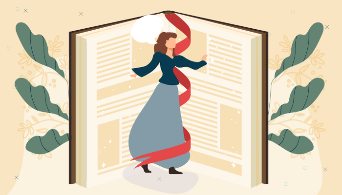 Illustration of a woman twirling between an enlarge book that is open in half