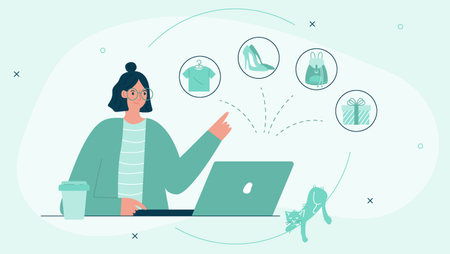 Illustration of a woman working on a laptop surrounded by various shopping and gift icons