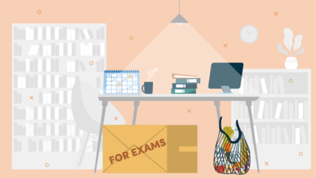 Illustration of an office with a large cardboard box on the floor with 'for exams' printed on it
