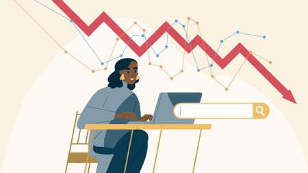 Illustration of a woman sitting at a desk and working on a laptop, with a line graph in the background