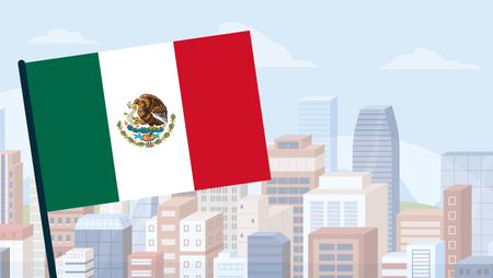 Illustration of the Mexican flag with a city skyline in the backdrop