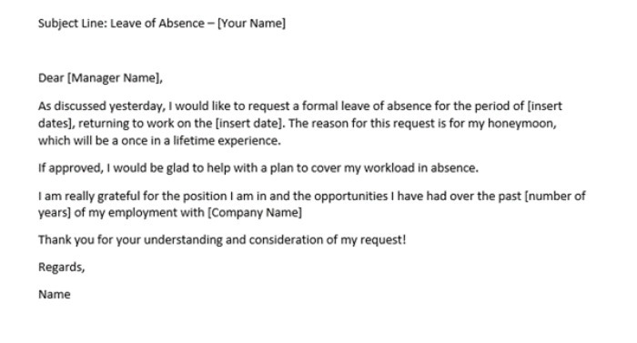 Example of a holiday leave request letter